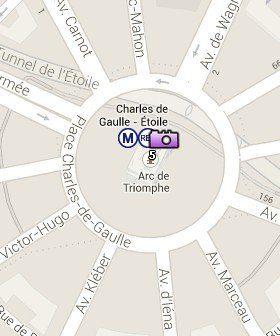 Situación del Arco de Triunfo en el Mapa de París