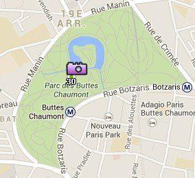 Situación del Parque des Buttes Chaumont en el Mapa de París