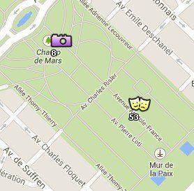 Situación del Campo de Marte en el Mapa de París