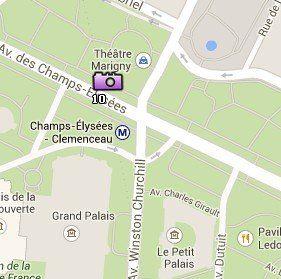 Situación de los Campos Elíseos en el Mapa de París