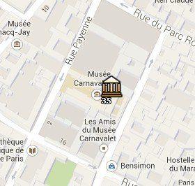 Situación del Museo Carnavalet en el Mapa de París