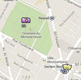 Situación del Cementerio de Montparnasse y las Catacumbas en el Mapa de París