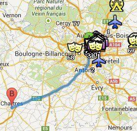 Situación de Chartres respecto a París