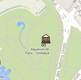 Situación de Cinéaqua en el Mapa de París