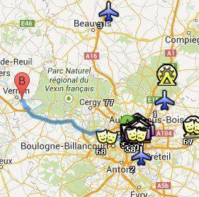 Situación de Giverny respecto a París