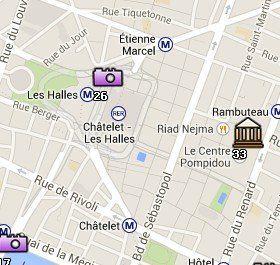 Situación del Forum Des Halles en el Mapa de París