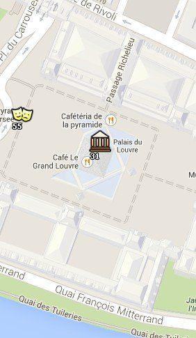 Situación del Museo del Louvre en el Mapa de París