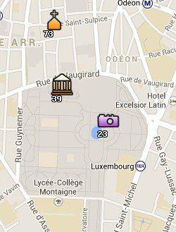 Situación de los Jardines de Luxemburgo en el Mapa de París