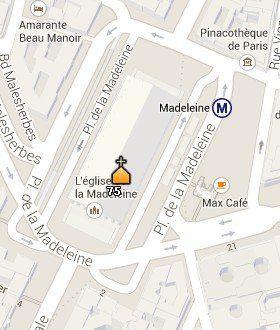 Situación de la Iglesia de la Madeleine en el Mapa de París