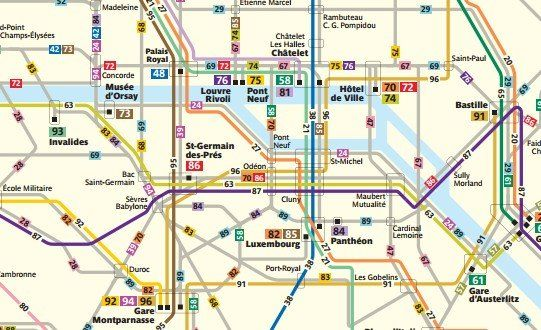 Mapa de la red de Autobuses de París