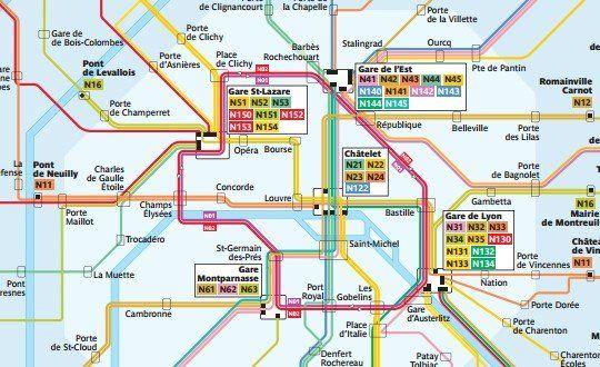 Mapa de la red de autobuses Noctilien