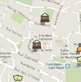 Situación del Museo de Montmartre en el Mapa de París