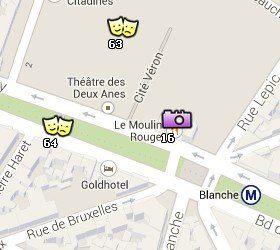 Situación del Moulin Rouge en el Mapa de París