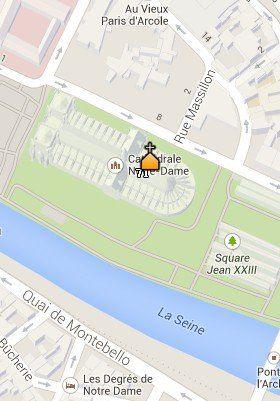 Situación de la Catedral de Notre Dame en el Mapa de París