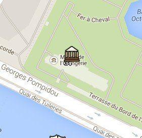Situación del Museo de la Orangerie en el Mapa de París