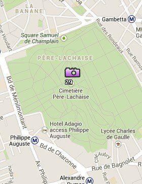 Situación del Cementerio de Père-Lachaise en el Mapa de París