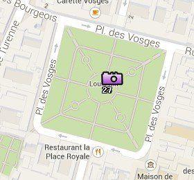 Situación de la Place des Vosges en el Mapa de París