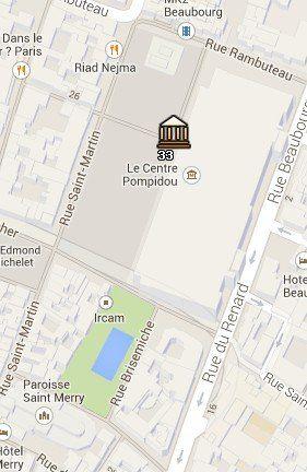 Situación del Centro Pompidou en el Mapa de París
