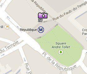 Situación de la Plaza de la República en el Mapa de París
