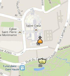 Situación del Sacre Coeur en el Mapa de París