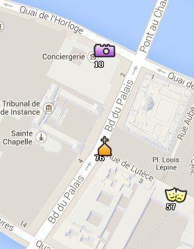 Situación de la Sainte Chapelle en el Mapa de París