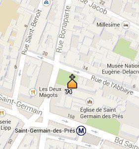 Situación de la Iglesia de Saint Germain des Prés en el Mapa de París