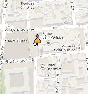 Situación de la Iglesia de Saint Sulpice en el Mapa de París