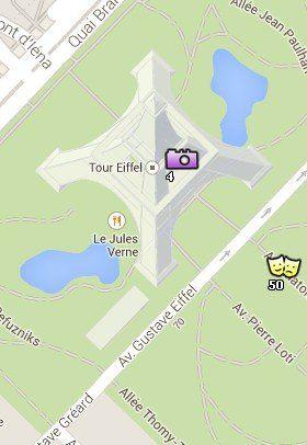 Situación de la Torre Eiffel en el Mapa de París