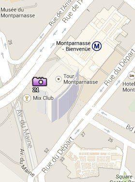 Situación de la Torre de Montparnasse en el Mapa de París