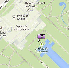 Situación de los Jardines de Trocadéro en el Mapa de París